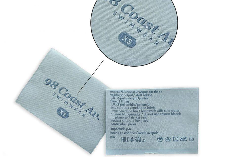 Etiquetas tejidas alta definición.